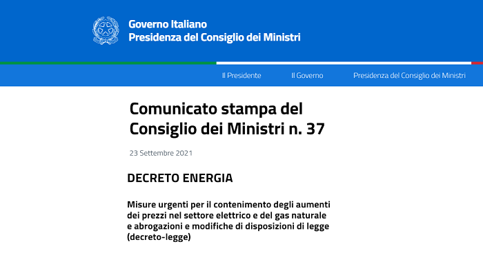 Decreto Energia: Bonus Bollette Imprese per il quarto trimestre 2021
